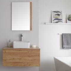 Milano Oxley - 800mm Modern Vanity Unit with Square Countertop Basin - Golden Oak