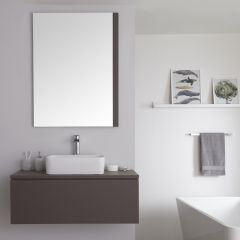 Milano Oxley - 1000mm Modern Vanity Unit with Square Countertop Basin - Matt Grey