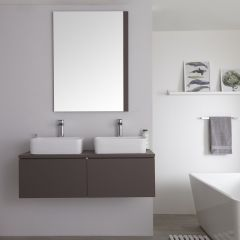 Milano Oxley - 1200mm Modern Vanity Unit with Twin Square Countertop Basin - Matt Grey