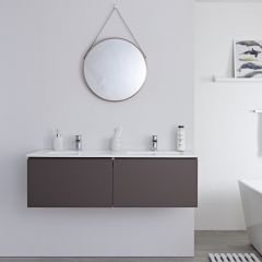 Milano Oxley - 1200mm Modern Vanity Unit with Double Basin - Matt Grey
