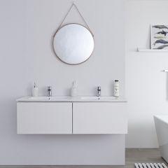 Milano Oxley - 1200mm Modern Vanity Unit with Double Basin - Matt White