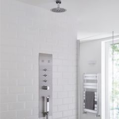 Milano Lisse Concealed Shower Tower with 200mm Round Head and Short Ceiling Arm
