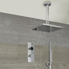 Milano Vis Two Outlet Digital Thermostatic Shower with Square 400mm Ceiling Shower Head