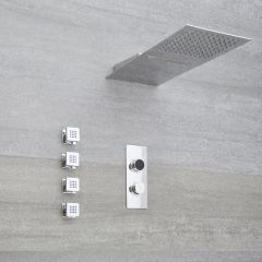 Milano Vis Three Outlet Digital Thermostatic Shower, Head with Waterblade and Body Jets