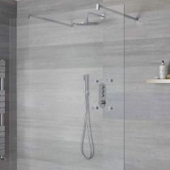 Milano Orta - 3 Outlet Push Button Shower Valve, Handset, Wall Mounted Head and Body Jets