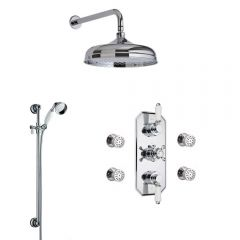 Milano Triple Diverter Valve Thermostatic, Slide Rail, Body Jets, Wall Arm and 150mm Head