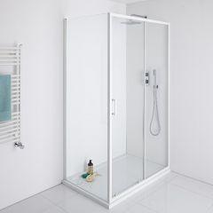 Milano Bianco 1000mm Shower Sliding Door, 800mm Side Panel & Tray