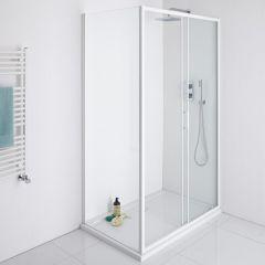 Milano Bianco 1000mm Shower Sliding Door, 760mm Side Panel & Tray