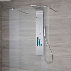 Milano Vista - 3 Function Push Button Thermostatic Shower Tower with Integrated Storage