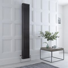 Milano Windsor - Traditional 6 x 3 Column Radiator Cast Iron Style High Gloss Black 1800mm x 270mm