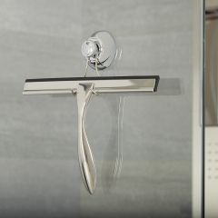 Milano Chrome Shower Squeegee with Sucker Hook