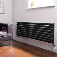 Milano Aruba - Luxury High Gloss Black Horizontal Designer Radiator 472mm x 1600mm