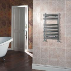 Kudox - Chrome Flat Bar on Bar Heated Towel Rail - 750mm x 600mm