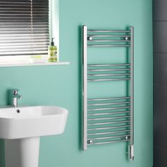 Kudox - Chrome Curved Thermostatic Electric Heated Towel Rail - 1000mm x 500mm