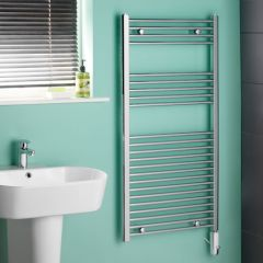 Kudox Chrome Flat Thermostatic Electric Towel Rail 1200mm x 600mm
