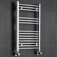 Kudox - Premium Chrome Curved Heated Bathroom Towel Radiator Rail - 800mm x 500mm