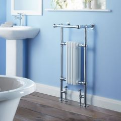 Milano Trent - Traditional Brass Heated Bathroom Towel Radiator Rail 930mm x 450mm