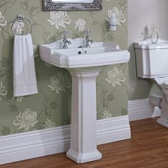 Milano Windsor - 580mm Basin with Full Pedestal - 2 Tap-Holes