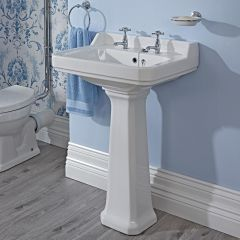 Premier Ambience - 600mm Basin with Full Pedestal - 2 Tap-Holes