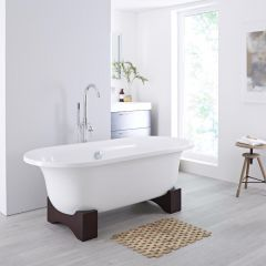 Milano Mellor 1750mm Oval Roll Top Freestanding with Wooden Feet