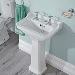Premier Carlton - 2 Tap-Hole Traditional Cloakroom Basin with Full Pedestal - 500mm