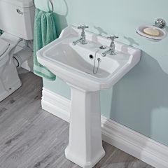 Premier Carlton - 500mm Cloakroom Basin with Full Pedestal - 2 Tap-Holes