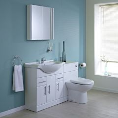 Milano - 750mm Furniture Sink & Toilet Set - White Gloss