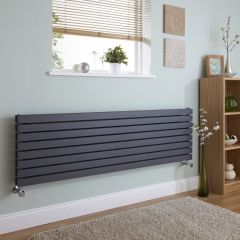 Milano Capri - Anthracite Horizontal Flat Panel Double Designer Radiator 472mm x 1780mm