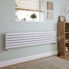 Milano Capri - White Horizontal Flat Panel Designer Radiator - 354mm x 1600mm (Double Panel)