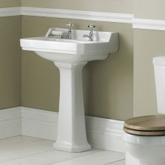 Old London Richmond - Traditional 2 Tap-Hole Basin with Full Pedestal - 595mm