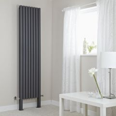Milano Aruba Plus - Anthracite Vertical Designer Radiator with Feet 2000mm x 472mm (Double Panel)