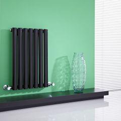 Milano Aruba - High-Gloss Black Horizontal Designer Radiator 635mm x 415mm
