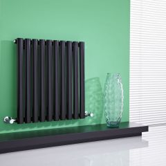 Milano Aruba - High-Gloss Black Horizontal Designer Radiator 635mm x 595mm