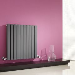 Milano Capri - Anthracite Flat Panel Horizontal Designer Radiator - 635mm x 600mm (Double Panel)