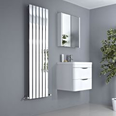 Milano Alpha - Chrome Vertical Slim Panel Designer Radiator 1600mm x 450mm