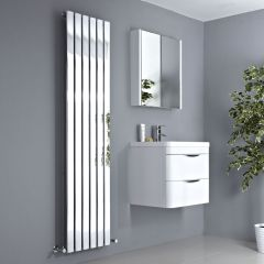 Milano Alpha - Chrome Vertical Slim Panel Designer Radiator 1800mm x 450mm