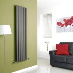 Milano Alpha - Anthracite Flat Panel Vertical Designer Radiator - 1600mm x 420mm (Double Panel)