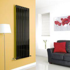 Milano High-Gloss Black Vertical Single Slim Panel Designer Radiator 1600mm x 560mm