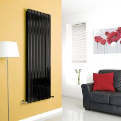Milano High-Gloss Black Vertical Double Slim Panel Designer Radiator 1600mm x 560mm