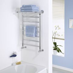 Milano Pendle - Chrome Heated Towel Rail with Heated Shelf - 794mm x 532mm