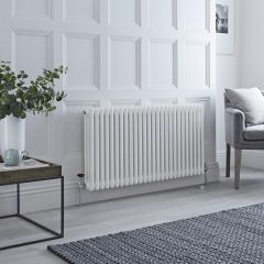 Milano Windsor - Traditional White Horizontal Column Radiator - 600mm x 1160mm (Triple Column)