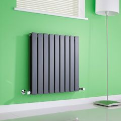 Milano Alpha - Anthracite Flat Panel Horizontal Designer Radiator - 635mm x 630mm (Double Panel)