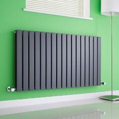 Milano Alpha - Anthracite Horizontal Double Slim Panel Designer Radiator 635mm x 1190mm