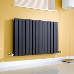 Milano Alpha - Gloss Black Horizontal Double Slim Panel Designer Radiator 635mm x 980mm