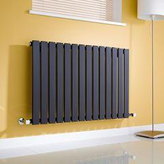 Milano Alpha - Gloss Black Horizontal Single Slim Panel Designer Radiator 635mm x 980mm
