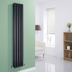 Milano Viti - Black Diamond Panel Vertical Designer Radiator - 1600mm x 280mm (Double Panel)