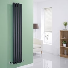 Milano Viti - Black Diamond Panel Vertical Designer Radiator - 1600mm x 280mm