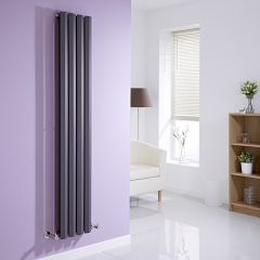 Milano Viti - Anthracite Diamond Panel Vertical Designer Radiator - 1600mm x 280mm (Double Panel)