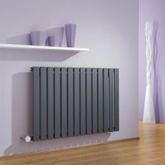 Milano Alpha - Anthracite Slim Panel Bluetooth Equipped Electric Horizontal Designer Radiator - 635mm x 980mm