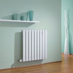 Milano Alpha - White Horizontal Single Slim Panel Electric Designer Radiator - 635mm x 630mm